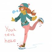 Vector cartoon Girl on Skates.