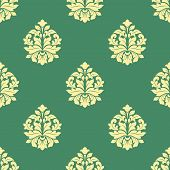 foto of dainty  - Seamless sparse yellow flowers pattern with bold leaves and dainty buds on green background - JPG