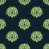 Seamless green colored damask pattern