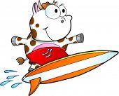Tough Surfing Cow Vector Illustration Art