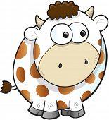 Silly Farm Cow Vector Illustration Art