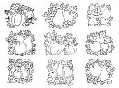 Fruit and vegetable compositions in retro sketch style