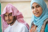 picture of arabic woman  - Happy Arabic young man and woman - JPG