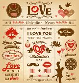 Valentine's day newspaper design with labels, icons elements collection