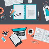 Set of flat design illustration concepts for creative project, graphic design development, business