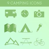 Set Of Outdoor Summer Camping Icons. Rv, Motorhome And Travel Elements. Flat Design On Green Backgro