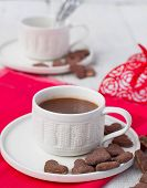 Hot Cocoa And Cookies Hearts. Selective Focus