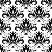 Seamless damask pattern with stylized yucca