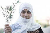 Arabic Muslim Middle Eastern woman with olive branch as peace symbol