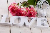 Postcard With Elegant  Flowers And Word Love