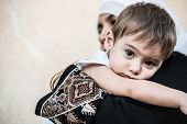 pic of middle eastern culture  - Arabic Muslim Middle Eastern woman with little son - JPG