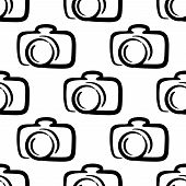 Outline camera seamless pattern background