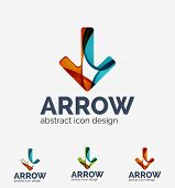 Clean modern wave design arrow company logo, business icon made of overlapping elements