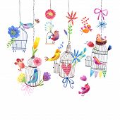 Cute card with birds and flowers