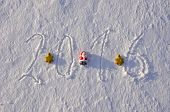 2016 New Year Written On Winter Snow And Christmas Toys