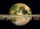 Yellow Planet and Space Rocks