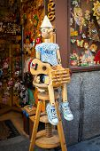 Vintage Wood Toy Shop With Pinocchio Dool Exposed On Front In Madrid