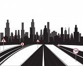 Big city and roads