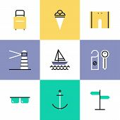 Sea Vacation Pictogram Icons Set