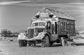 Bible Truck Outsider Art Installation In Monotone