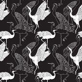 Cranes Birds Seamless Pattern