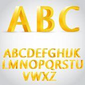 foto of grammar  - Vector 3d golden alphabet illustration - JPG