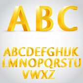 Vector 3d golden alphabet illustration