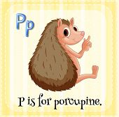 Illustration of a letter P is for porcupine