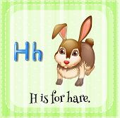 Illustration of a letter H is for hare