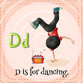 Illustration of a letter D is for dancing