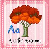 Illustration of a letter A is for Autumn