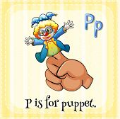 Illustration of a letter P is for puppet