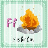 Illustration of a letter F is for fire