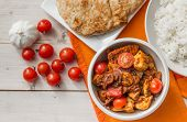 Indian Chicken Jalfrezi With Basmati Rice And Naan