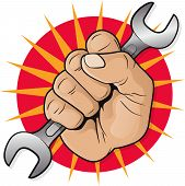 Retro Raised Punching Fist With Spanner.