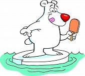 Cartoon polar bear on an iceberg.