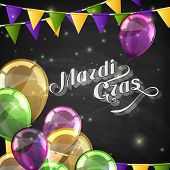 vector typographical illustration of ornate chalk words Mardi Gras on the blackboard texture