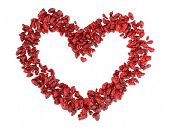 Big heart shape made of small red hearts Valentine's day background.