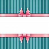 Cute Background With Pink Ribbons On A Blue Background