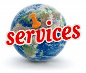 Globe and services (clipping path included)