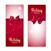 Set of two vertical holiday banners with photorealistic red bows.