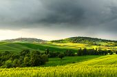 sunset view of Pienza, province of Siena, Val d'Orcia in Tuscany, Italy