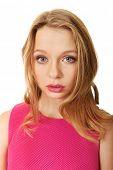 Beautiful teenage woman with bright make up