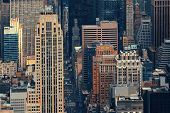 New York City skyscrapers aerial urban view.