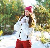 Pretty Woman In Winter Sunny Day