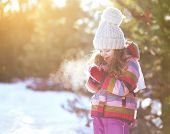 Child In Sunny Cold Winter Weather