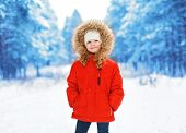 Little Child Outdoors In Winter Day