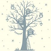 picture of tree house  - silhouette fairytale tree with houses and with cartoon funny owls - JPG