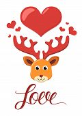 Deer in love vector illustration.