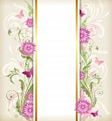 picture of butterfly flowers  - Vintage vector floral background with pink flowers and butterflies - JPG